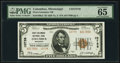 Columbus, MS - $5 1929 Ty. 2 First-Columbus National Bank Ch. # 10738 PMG Gem Uncirculated 65 EPQ.<