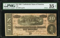 "Confederate Notes:1864 Issues, Broken ""F"" Plate Letter T68 $10 1864 PF-42 Cr. 551 PMG Choice Very Fine 35 EPQ.. ..."