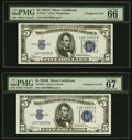 Small Size:Silver Certificates, Changeover Pair Fr. 1651/Fr. 1652 $5 1934A/1934B Silver Certificates. PMG Superb Gem Unc 67 EPQ and Gem Uncirculated 66 EPQ.... (Total: 2 notes)