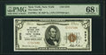 New York, NY - $5 1929 Ty. 2 The Chase National Bank Ch. # 2370 PMG Superb Gem Unc 68 EPQ