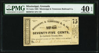 Grenada, MS- Mississippi & Tennessee R.R. Co. 75¢ Jan. 1, 1864 Kraus 51974 PMG Extremely Fine 40 EPQ