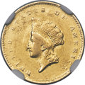 Gold Dollars, 1855-C G$1 -- Cleaned -- NGC Details. AU. Variety 2....