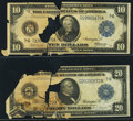 Fr. 928 $10 1914 Federal Reserve Note Poor; Fr. 990 $20 1914 Federal Reserve Note Poor. ... (Total: 2)