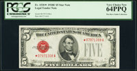 Fr. 1530* $5 1928E Legal Tender Star Note. PCGS Very Choice New 64PPQ