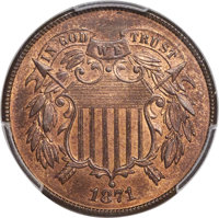 1871 2C MS66 Red and Brown PCGS. CAC....(PCGS# 3610)
