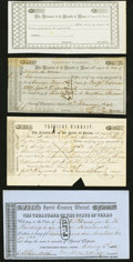 Austin, TX- Treasury Warrants Various Amounts 1842-60 Four Examples Extremely Fine or Better