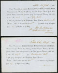Confederate Notes:Group Lots, Talla(hassee), FL Coupon Bond Receipts 1861 Tremmel UNL (2) Very Fine or Better.. ... (Total: 2 items)