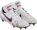 """Football Collectibles:Others, 1997 Jerry Rice Game Worn Cleats From The """"Return Game"""" & Game Worn Gloves...."""
