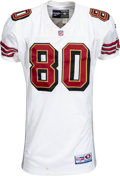 Football Collectibles:Uniforms, 1998 Jerry Rice Game Worn & Unwashed San Francisco 49ers Jersey Photo Matched to Two Games Including 12/20/98 vs. New England ...