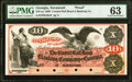 Savannah, GA- Central Rail Road and Banking Company of Georgia $10 18__ as G50a Proof PMG Choice Uncirculated 63