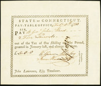 State of Connecticut Pay Table Office Feb. 8, 1783 Extremely Fine