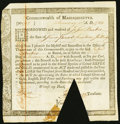Massachusetts Treasury Certificate January 1, 1782 £7.14s Anderson MA-31 Extremely Fine, COC