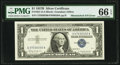 Mismatched Serial Number Error Fr. 1621 $1 1957B Silver Certificate. PMG Gem Uncirculated 66 EPQ