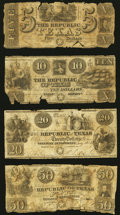 Obsoletes By State:Texas, Houston, TX- Republic of Texas $5; $10; $20; $50 circa 1840 Fair or Better.. ... (Total: 4 notes)