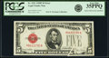 Gutter Fold Error Fr. 1531 $5 1928F Wide I Legal Tender Note. PCGS Very Fine 35PPQ