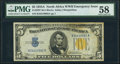 Fr. 2307 $5 1934A North Africa Silver Certificate. PMG Choice About Unc 58