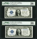 Fr. 1601 $1 1928A Silver Certificates. Two Consecutive Examples. PMG Choice About Unc 58. ... (Total: 2 notes)