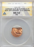 LINCOLN 1C Corner Clip & Curved Clip 30% off-Center 2.01 Grams, MS63 Red and Brown ANACS