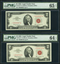 Fr. 1513* $2 1963 Legal Tender Star Notes. Two Examples. PMG Gem Uncirculated 65 EPQ; Choice Uncirculated 64 EPQ. ... (T...