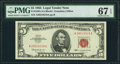 Small Size:Legal Tender Notes, Fr. 1536 $5 1963 Legal Tender Note. PMG Superb Gem Unc 67 EPQ.. ...