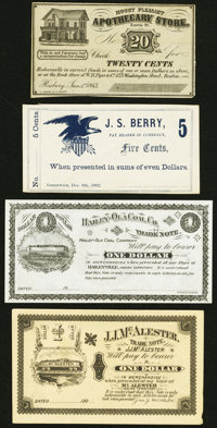 Roxbury, MA- Mount Pleasant Apothecary Store 20¢ Jan. 1, 1863 Remainder Crisp Uncirculated; Greenwich, (OH)- J. S...