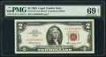 Fr. 1513 $2 1963 Legal Tender Note. PMG Superb Gem Unc 69 EPQ