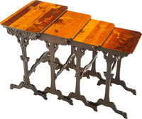 Set of Four Gallé Marquetry Nesting Tables, circa 1900 Marks to largest: GALLÉ 29 x 23 x 15 inches (73.7 x...