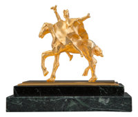 Salvador Dalí (1904-1989) Trajan Horse, 1981 Bronze with gold patina 8 x 6-1/2 x 4 inches (20.3 x
