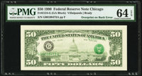 Third Printing on Back Error Fr. 2124-G $50 1990 Federal Reserve Note. PMG Choice Uncirculated 64 EPQ