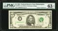 Error Notes:Gutter Folds, Gutter Fold Error Fr. 1976-C $5 1981 Federal Reserve Note. PMG Choice Uncirculated 63 EPQ.. ...