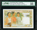 French Indochina Institut d'Emission des Etats, Cambodia 100 Piastres = 100 Riels ND (1954) Pick 97 PMG About Uncirculat...