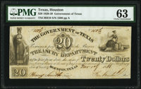 Houston, TX- Government of Texas $20 Nov. 1, 1838 Cr. H19 PMG Choice Uncirculated 63
