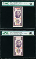 China Central Bank of China 10 Cents 1930 Pick 323b S/M#C301-1a Two Consecutive Examples PMG Gem Uncirculated 65 EPQ; Ch...