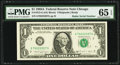 Radar Serial Number 70222207 Fr. 1915-G $1 1988A Federal Reserve Note. PMG Gem Uncirculated 65 EPQ
