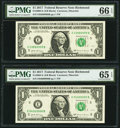 Small Size:Federal Reserve Notes, Fancy Consecutive Serial Numbers 03999999 and 04000000 Fr. 3004-E $1 2017 Federal Reserve Notes. PMG Graded Gem Uncirculated 6... (Total: 2 notes)