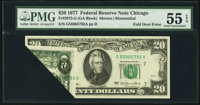 Fold Over Error Fr. 2072-G $20 1977 Federal Reserve Note. PMG About Uncirculated 55 EPQ