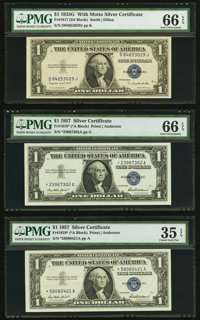 Fr. 1617 $1 1935G With Motto Silver Certificate. PMG Gem Uncirculated 66 EPQ; Fr. 1619* $1 1957 Silver Certificate Stars...