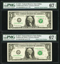 Small Size:Federal Reserve Notes, Radar Serial Number 60199106 and Repeater Serial Number 60196019 Fr. 3004-K $1 2017 Federal Reserve Notes. PMG Superb Gem Unc ... (Total: 2 notes)