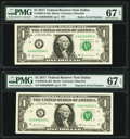 Small Size:Federal Reserve Notes, Radar Serial Number 60200206 and Repeater Serial Number 60206020 Fr. 3004-K $1 2017 Federal Reserve Notes. PMG Superb Gem Unc ... (Total: 2 notes)