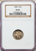 1882 3CN PR65 NGC. NGC Census: (300/332). PCGS Population: (361/429). CDN: $325 Whsle. Bid for NGC/PCGS PR65. Mintage 3...