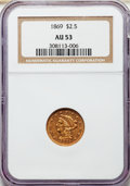 1869 $2 1/2 AU53 NGC. NGC Census: (9/125). PCGS Population: (15/66). CDN: $750 Whsle. Bid for NGC/PCGS AU53. Mintage 4,3...