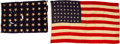 """Military & Patriotic:WWII, Two Flag Lot - """"USS Texas(BB- 35) Ensign and Jack """"Flagship of the Texas Navy."""" ... (Total: 2 Items)"""