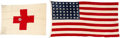 Military & Patriotic:WWII, TWO FLAG LOT - WWII Hospital Ship - USS Samaritan (AH-10) and Geneva Convention Flag. ... (Total: 2 Items)