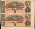 Confederate Notes:1864 Issues, T69 $5 1864 PF-5 Cr. 560 Uncut Pair Extremely Fine-About Uncirculated.. ...