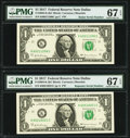 Small Size:Federal Reserve Notes, Radar Serial Number 60211206 and Repeater Serial Number 60216021 Fr. 3004-K $1 2017 Federal Reserve Notes. PMG Superb Gem Unc ... (Total: 2 notes)