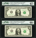 Small Size:Federal Reserve Notes, Radar Serial Number 60222206 and Repeater Serial Number 60226022 Fr. 3004-K $1 2017 Federal Reserve Notes. PMG Graded Superb G... (Total: 2 notes)