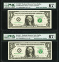 Small Size:Federal Reserve Notes, Radar Serial Number 60233206 and Repeater Serial Number 60236023 Fr. 3004-K $1 2017 Federal Reserve Notes. PMG Superb Gem Unc ... (Total: 2 notes)