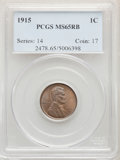 Lincoln Cents: , 1915 1C MS65 RB PCGS. Pop (98/20), CDN Collector Price ($520.00), CAC (16/6)