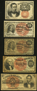 Fractional Currency:Fifth Issue, Fr. 1265 10¢ Fifth Issue Very Fine;. Fr. 1267 15¢ Fourth Issue Fine-Very Fine;. Fr. 1271 15¢ Fourth Issue Good;. F... (Total: 5 notes)