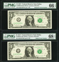 Small Size:Federal Reserve Notes, Radar Serial Number 49755794 and Repeater Serial Number 49754975 Fr. 3004-K $1 2017 Federal Reserve Notes. PMG Superb Gem Unc ... (Total: 2 notes)